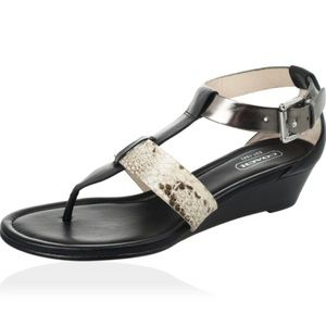 ✨ Coach Leather Snakeskin T-Strap Wedge Sandals ✨